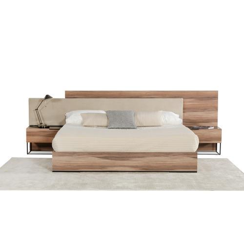 Nova Domus Matteo Italian Modern Walnut & Fabric Bedroom Set