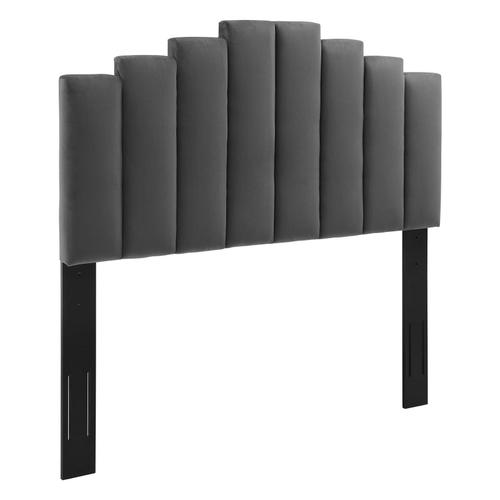 Noelle Performance Velvet Full/Queen Headboard in Charcoal