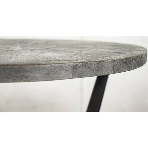 Round Bunching Chairside Table - Ashen Gray Finish