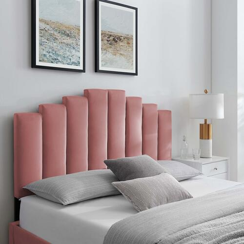 Noelle Performance Velvet Twin Headboard in Dusty Rose