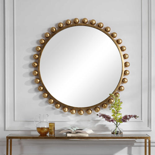 Cyra Gold Round Mirror