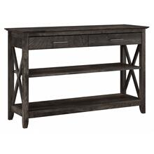 Key West Console Table with Drawers and Shelves - Dark Gray Hickory
