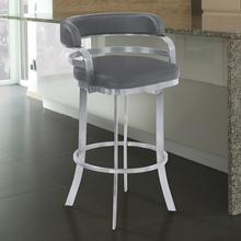 """View Product - Armen Living Prinz 26"""" Counter Height Metal Swivel Barstool in Gray Faux Leather with Brushed Stainless Steel Finish"""