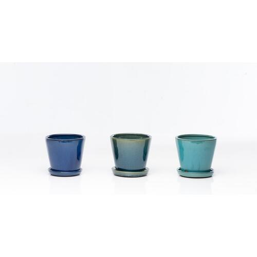 "Marianne 6"" Cone Petits Pots w/ attach saucer Assortment (3 colors, 4 each)"