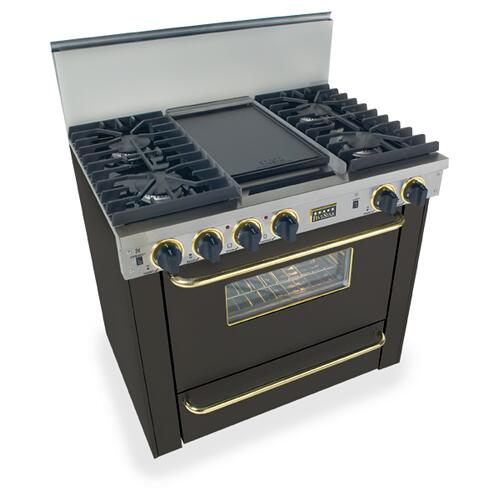 """Five Star - 36"""" All Gas, Convect, Sealed Burners, Black with Brass"""