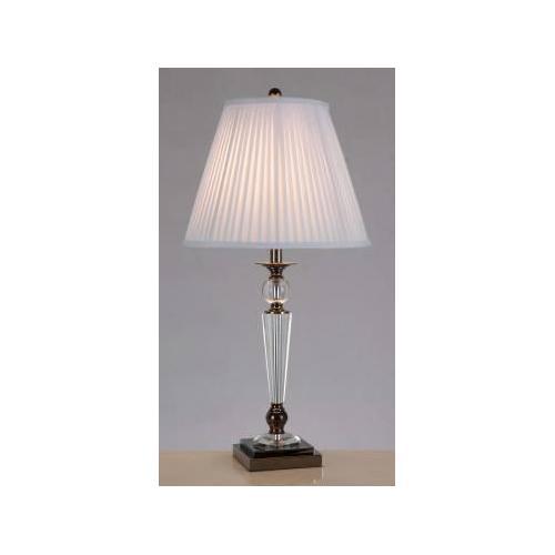Table Lamp, Black Chrome/pleated Fabric Shade, E27 A 100w