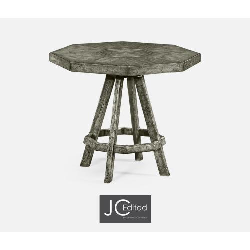 Antique Dark Grey Side Table with Octagonal Top