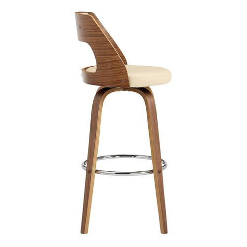 """Armen Living - Axel 26"""" Swivel Counter Stool in Cream Faux Leather and Walnut Wood"""