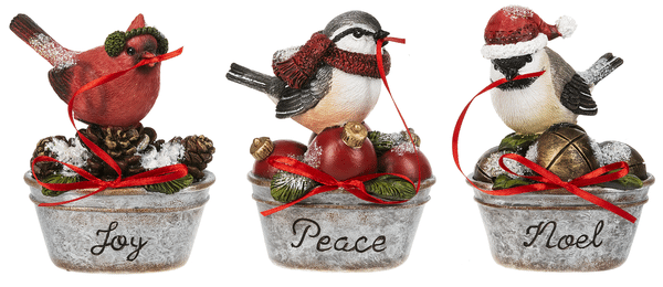Birds on Pail Figurines (6 pc. ppk.)