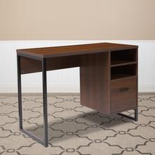 See Details - Northbrook Rustic Coffee Wood Grain Finish Computer Desk with Black Metal Frame