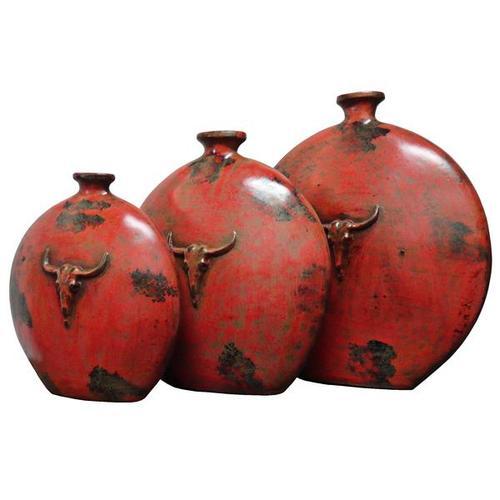 L.M.T. Rustic and Western Imports - 3 PC Rojo Craneo Luneta Aplastada Pots
