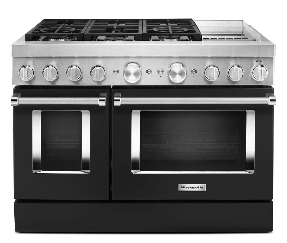 KitchenaidKitchenaid® 48'' Smart Commercial-Style Dual Fuel Range With Griddle - Imperial Black