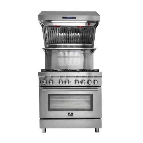 "36"" Range Hood FORNO ALTA QUALITA 1200 CFM Range Hood With Red Light Warmers / Shelf / Back Splash Baffle Filters, All Stainless Steel FRHWM5029-36"