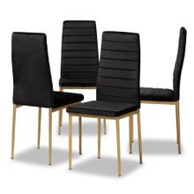 View Product - Baxton Studio Armand Modern Glam and Luxe Black Velvet Fabric Upholstered and Gold Finished Metal 4-Piece Dining Chair Set