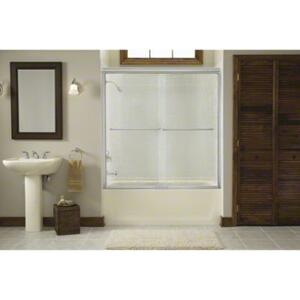 """Finesse™ Sliding Bath Door with Quick Install™ Mounting System - Height 58-3/4"""", Max. Opening 59-1/4"""" - Deep Bronze Product Image"""