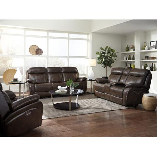 Edmond Power Motion Reclining Loveseat with Console, Brown