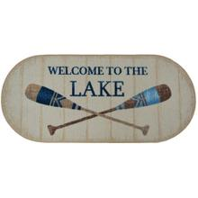 """Cozy Cabin Welcome to the Lake 20""""x44"""" Oval"""