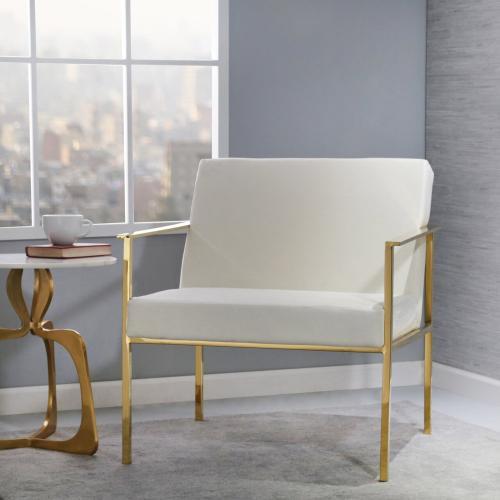 Metal/velveteen Arm Chair, White/gold