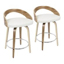 Grotto Counter Stool - Set Of 2 - Zebra Wood, White Pu, Chrome