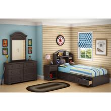 Summer Breeze - Mates Bed With Bookcase Headboard Set, Chocolate, Twin