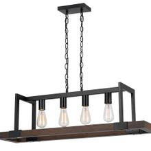 60W X 4 Antonio Wood Chandelier (Edison Bulbs Not included)