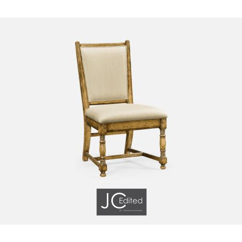 Light Brown Chestnut Country Side Chair, Upholstered in MAZO