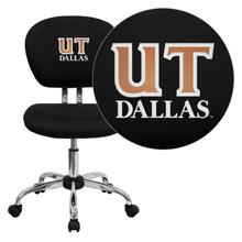 Texas at Dallas Comets Embroidered Black Mesh Task Chair with Chrome Base