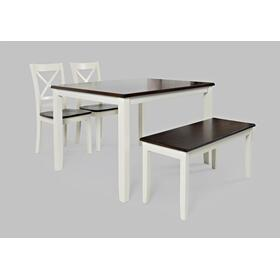 Asbury Park Table, 4 Chairs & Bench White/autumn