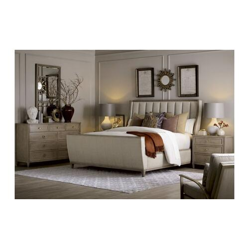Cityscapes King Chelsea Upholstered Shelter Sleigh Bed