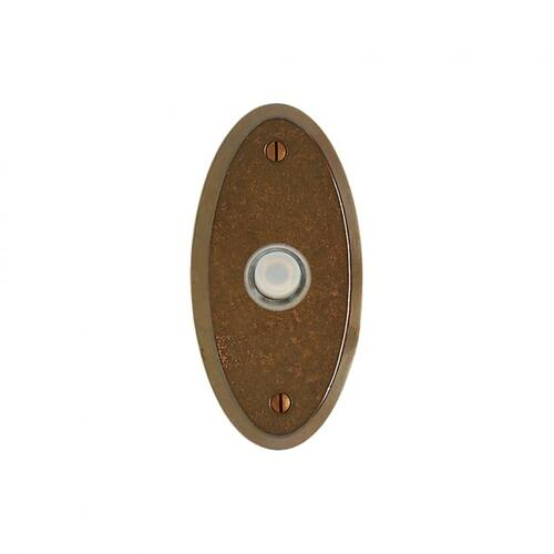 Oval Doorbell Button White Bronze Dark
