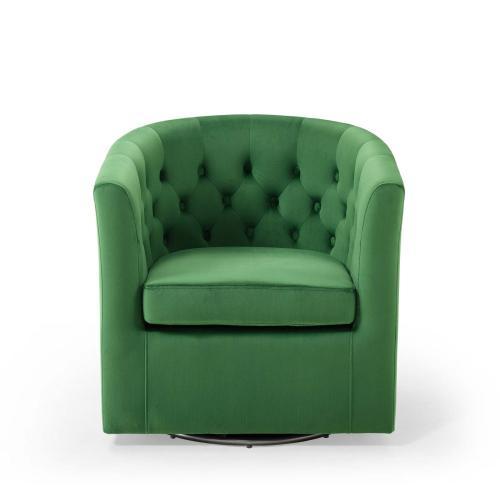 Prospect Tufted Performance Velvet Swivel Armchair in Emerald