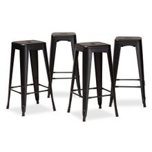 See Details - Baxton Studio Horton Modern and Contemporary Industrial Black Finished Metal 4-Piece Stackable Bar Stool Set