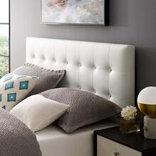 Emily Full Upholstered Vinyl Headboard in White