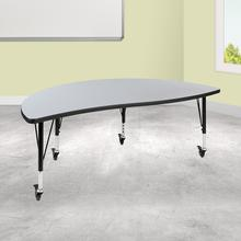 "Mobile 60"" Half Circle Wave Collaborative Grey Thermal Laminate Activity Table - Height Adjustable Short Legs"