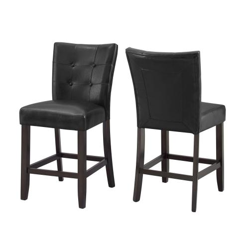"""Gallery - Francis 24"""" Counter Stool, Black Leatherette"""
