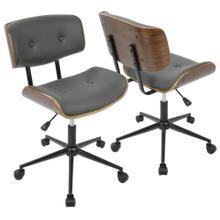 See Details - Lombardi Office Chair - Black Metal, Walnut Wood, Grey Pu