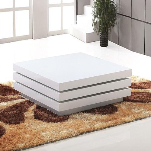 Grako Design - White Swivel Modern Coffee Table Square High Gloss MDF Wholesale
