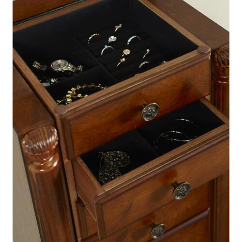 5-drawer and 2 Side Storage Jewelry Armoire, Deep Cherry