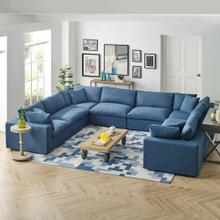 Commix Down Filled Overstuffed 8 Piece Sectional Sofa Set in Azure