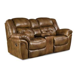 155-22-15  Reclining Console Loveseat - Chaps Saddle - TOP GRAIN LEATHER