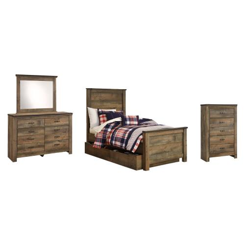 Twin Panel Bed With 1 Storage Drawer With Mirrored Dresser and Chest