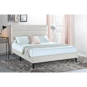 Accentrics Home - Horizontally Channeled King Upholstered Platform Bed in Light Gray