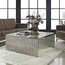 Gridiron Coffee Table in Silver