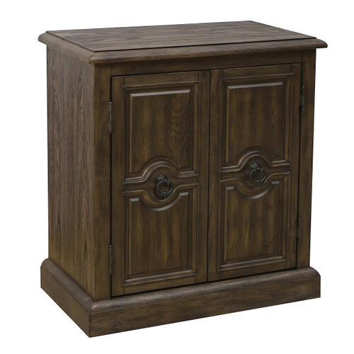 Two Door Carved Accent Chest in Oak Brown