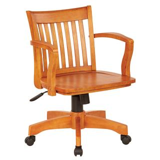 See Details - Deluxe Wood Banker's Chair With Wood Seat In Fruit Wood Finish