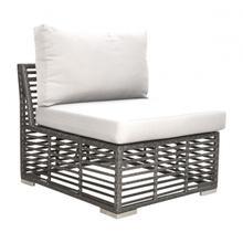 Graphite Armless Chair w/off-white cushion
