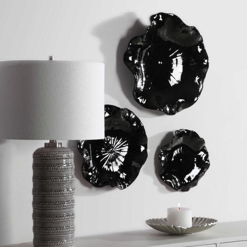 Uttermost - Abella Black Ceramic Wall Decor, S/3