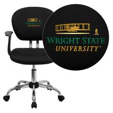 Wright State University Embroidered Black Mesh Task Chair with Arms and Chrome Base