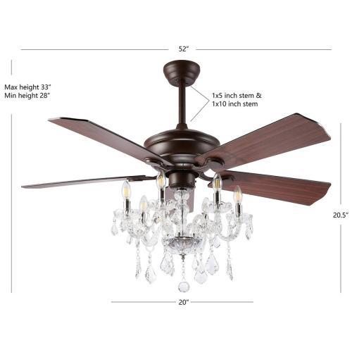 Safavieh - Garla Ceiling Light Fan - Dark Walnut With Black / Dark Walnut
