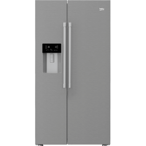 "Beko36"" Side by Side Stainless Steel Refrigerator with Auto Ice and Water Through the Door"